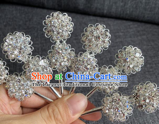 Chinese Traditional Peking Opera Diva Hair Accessories Ancient Crystal Wintersweet Hairpins for Women