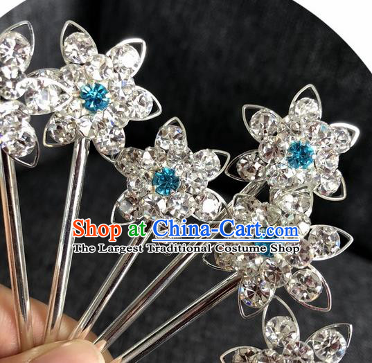 Chinese Traditional Peking Opera Diva Hair Accessories Ancient Blue Crystal Flower Hairpins for Women
