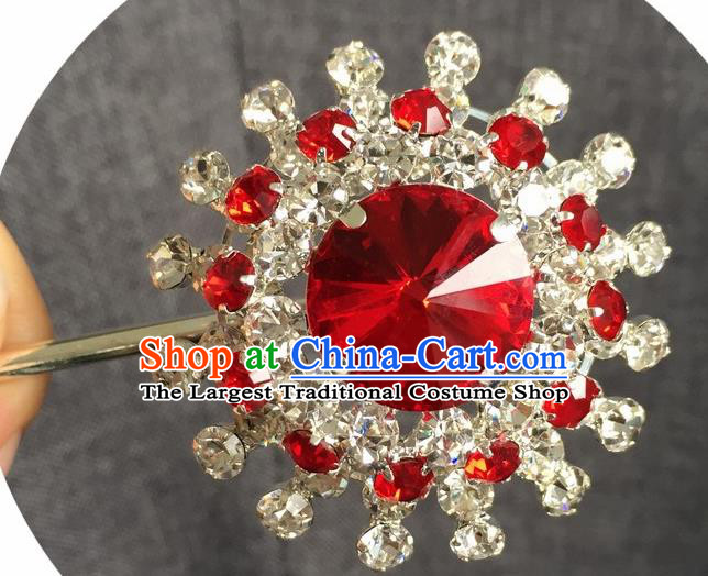 Chinese Ancient Red Crystal Hairpins Traditional Peking Opera Diva Hair Accessories for Women
