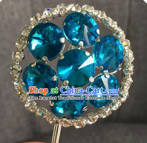 Chinese Ancient Blue Crystal Hairpins Traditional Peking Opera Diva Hair Accessories for Women
