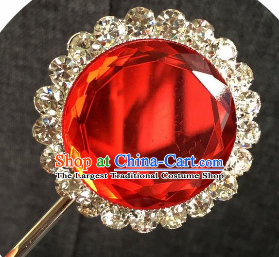Chinese Ancient Princess Red Crystal Hairpins Traditional Peking Opera Diva Hair Accessories for Women