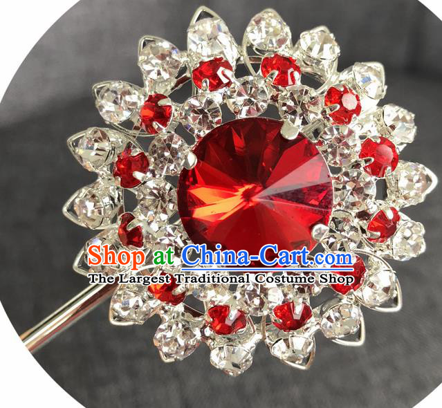 Chinese Ancient Princess Hairpins Traditional Peking Opera Diva Red Crystal Hair Accessories for Women