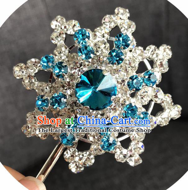 Chinese Ancient Princess Hairpins Traditional Peking Opera Diva Blue Crystal Hair Accessories for Women