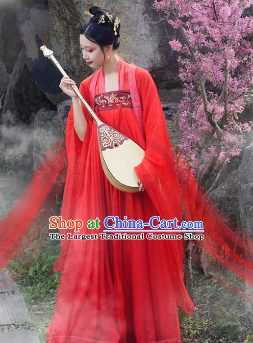 Chinese Traditional Tang Dynasty Imperial Consort Wedding Costumes Ancient Peri Goddess Embroidered Hanfu Dress for Rich