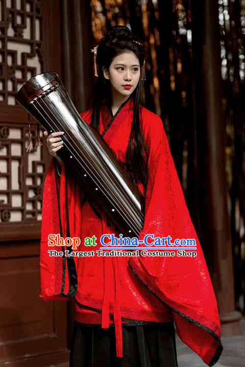 Chinese Ancient Zhou Dynasty Princess Red Hanfu Dress Fairy Wedding Costumes for Women