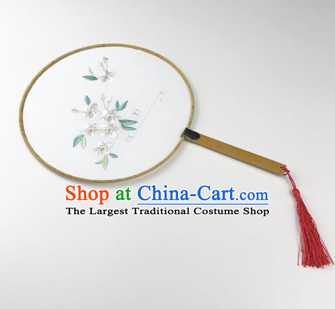 Chinese Ancient Princess Palace Fans Traditional Embroidered White Flowers Round Fans for Women