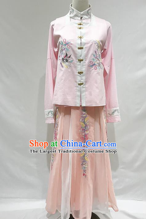 Ancient Chinese Ming Dynasty Nobility Lady Pink Hanfu Dress Historical Costumes for Women