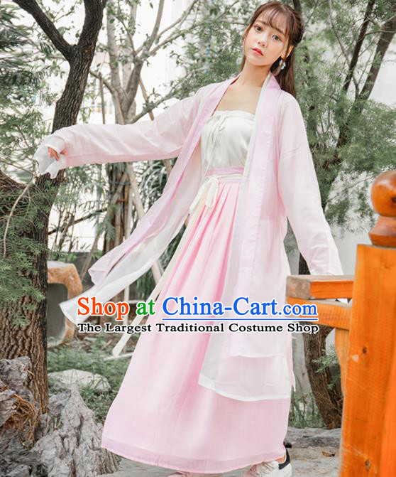 Ancient Chinese Song Dynasty Historical Costumes Palace Lady Pink Hanfu Dress for Women