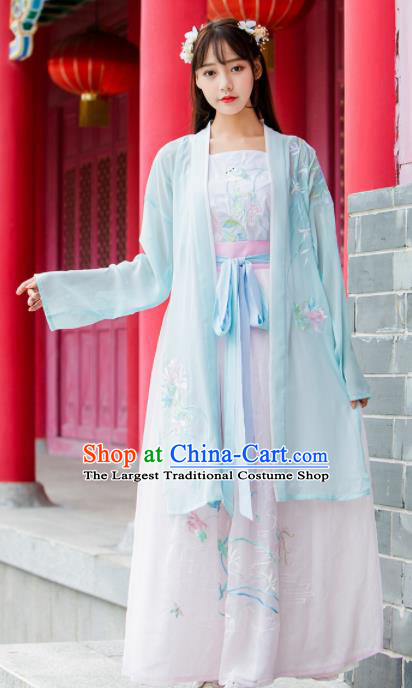Ancient Chinese Song Dynasty Princess Historical Costumes Nobility Lady Embroidered Hanfu Dress for Women
