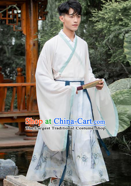 Ancient Chinese Jin Dynasty Scholar Historical Costumes Nobility Childe Embroidered Hanfu for Men