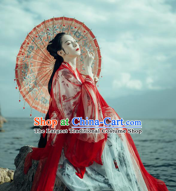 Chinese Traditional Jin Dynasty Imperial Concubine Wedding Historical Costumes Ancient Peri Hanfu Dress for Women