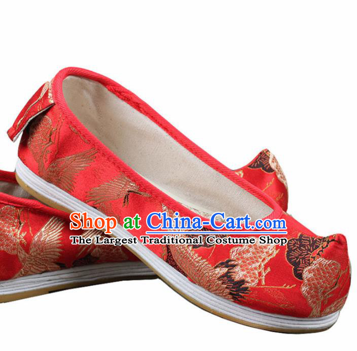 Chinese Ancient Traditional Embroidered Shoes Hanfu Red Cloth Shoes for Women