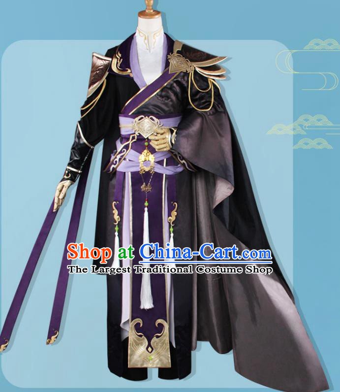 Chinese Traditional Cosplay Assassin Swordsman Black Costumes Ancient Nobility Childe Clothing for Men