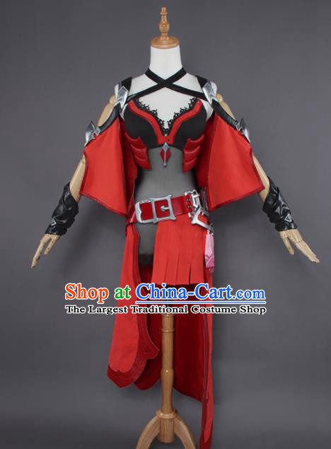 Chinese Traditional Cosplay Knight Costumes Ancient Swordswoman Red Clothing for Women