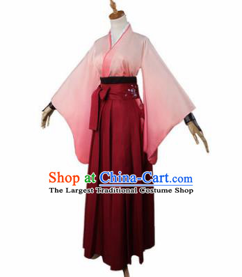 Top Grade Japanese Cosplay Kimono Costumes Chinese Ancient Swordswoman Dress for Women