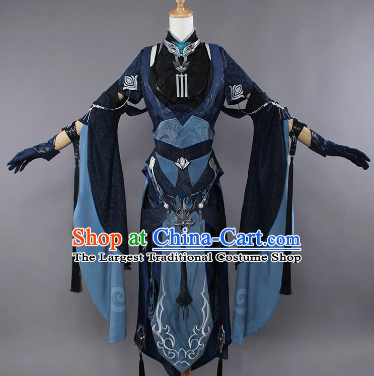 Chinese Traditional Cosplay Female Swordsman Costumes Ancient Knight Navy Dress for Women