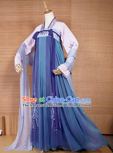 Top Grade Chinese Cosplay Princess Costumes Ancient Tang Dynasty Palace Lady Blue Dress for Women