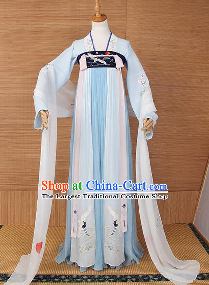 Top Grade Chinese Cosplay Princess Costumes Ancient Tang Dynasty Palace Lady Light Blue Dress for Women