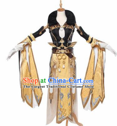 Top Grade Chinese Cosplay Young Lady Costumes Ancient Swordswoman Golden Dress for Women