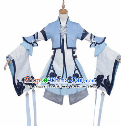 Top Grade Chinese Cosplay Costumes Ancient Young Lady Swordswoman Blue Dress for Women