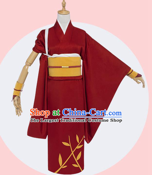 Top Grade Japanese Cosplay Costumes Ancient Swordswoman Red Kimono for Women