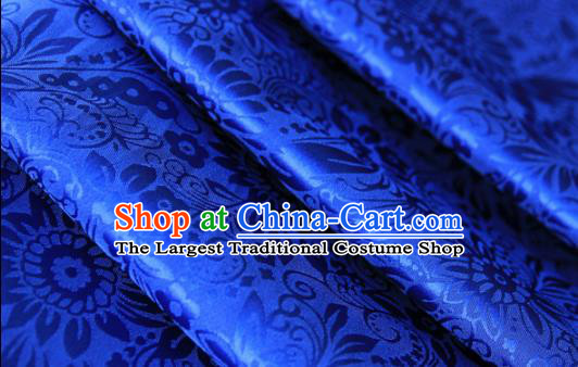 Asian Chinese Traditional Pattern Fabric Royalblue Brocade Silk Fabric Material