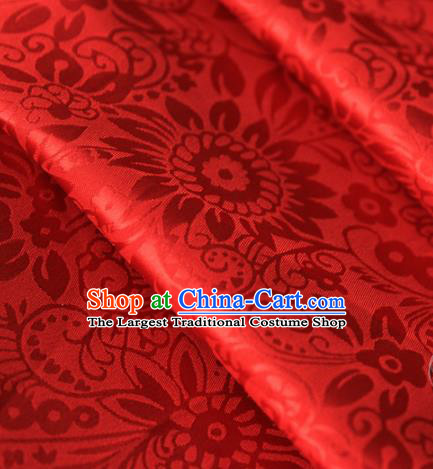 Asian Chinese Traditional Pattern Fabric Red Brocade Silk Fabric Material