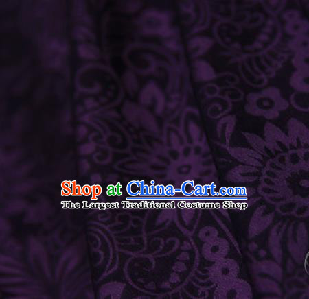 Asian Chinese Traditional Pattern Fabric Purple Brocade Silk Fabric Material