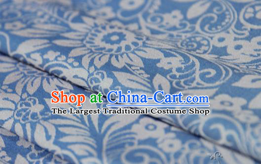 Asian Chinese Traditional Pattern Fabric Blue Brocade Silk Fabric Material