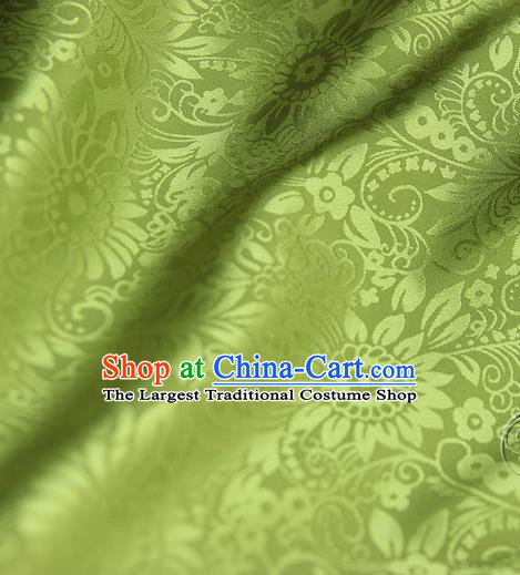 Asian Chinese Traditional Pattern Fabric Green Brocade Silk Fabric Material