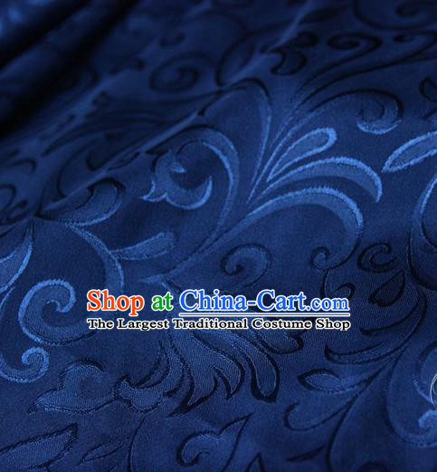 Asian Chinese Traditional Pattern Fabric Navy Brocade Silk Fabric Drapery Material