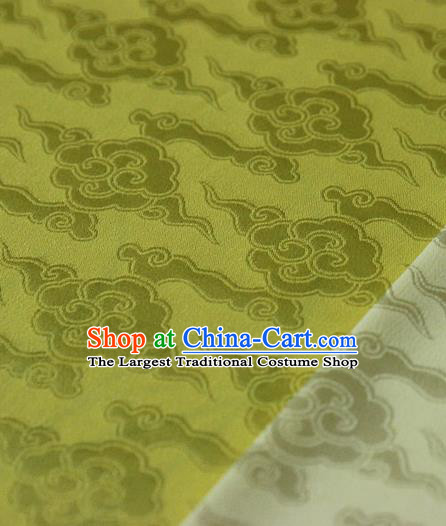Asian Chinese Traditional Pattern Fabric Ancient Hanfu Golden Brocade Silk Fabric Drapery Material