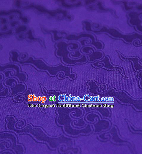 Asian Chinese Traditional Pattern Fabric Ancient Hanfu Purple Brocade Silk Fabric Drapery Material