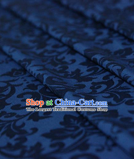 Asian Chinese Traditional Pattern Fabric Ancient Hanfu Jacquard Weave Deep Blue Brocade Silk Fabric Drapery Material