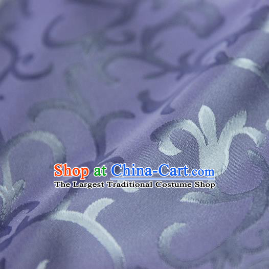 Asian Chinese Traditional Pattern Fabric Ancient Hanfu Jacquard Weave Purple Brocade Silk Fabric Drapery Material