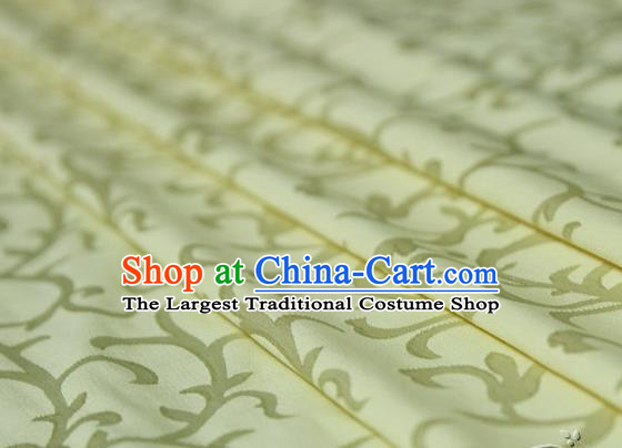 Asian Chinese Traditional Pattern Fabric Ancient Hanfu Jacquard Weave Yellow Brocade Silk Fabric Drapery Material