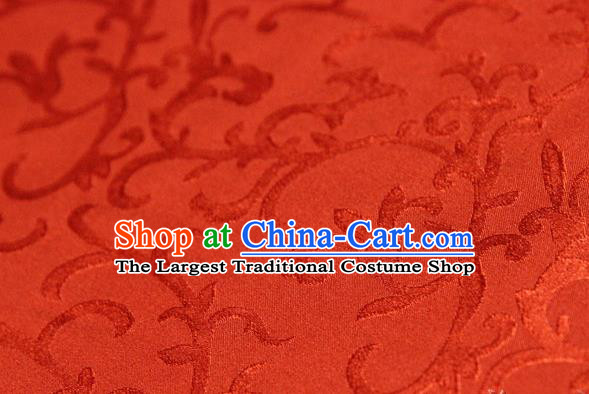 Asian Chinese Traditional Pattern Fabric Ancient Hanfu Jacquard Weave Red Brocade Silk Fabric Drapery Material