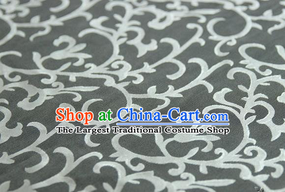 Asian Chinese Traditional Pattern Fabric Ancient Hanfu Jacquard Weave Grey Brocade Silk Fabric Drapery Material
