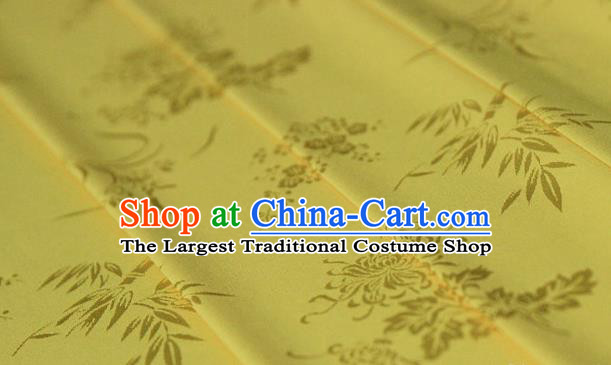 Asian Chinese Traditional Pattern Yellow Silk Fabric Ancient Hanfu Jacquard Brocade Fabric Drapery Material