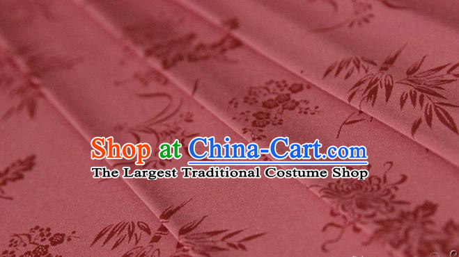 Asian Chinese Traditional Pattern Watermelon Red Silk Fabric Ancient Hanfu Jacquard Brocade Fabric Drapery Material