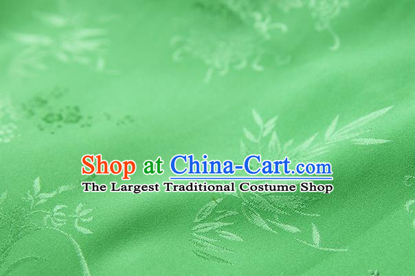 Asian Chinese Traditional Pattern Green Silk Fabric Ancient Hanfu Jacquard Brocade Fabric Drapery Material