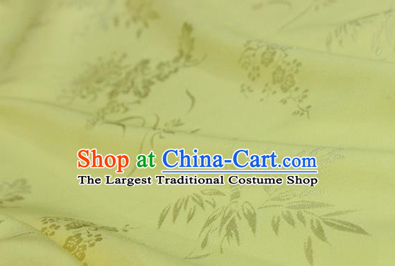 Asian Chinese Traditional Pattern Light Yellow Silk Fabric Ancient Hanfu Jacquard Brocade Fabric Drapery Material