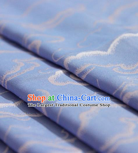 Asian Chinese Traditional Pattern Sky Blue Silk Fabric Ancient Hanfu Brocade Fabric Drapery Material