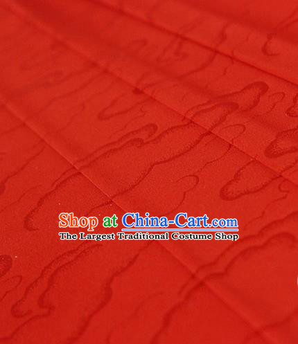 Asian Chinese Traditional Pattern Red Silk Fabric Ancient Hanfu Brocade Fabric Drapery Material