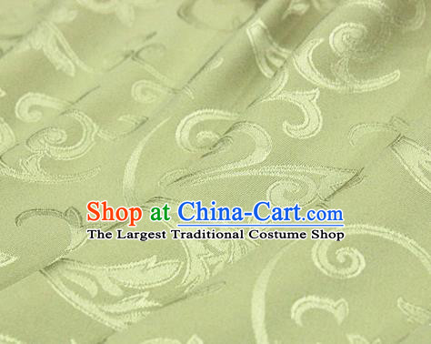 Asian Chinese Traditional Jacquard Silk Fabric Ancient Hanfu Green Brocade Fabric Drapery Material