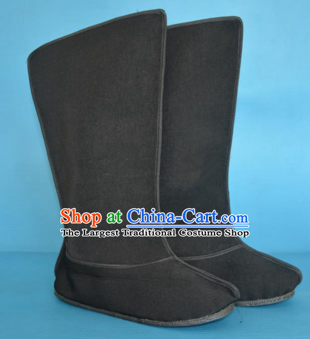 Chinese Traditional Beijing Opera Shoes Ancient Han Dynasty Warrior Black Boots for Men