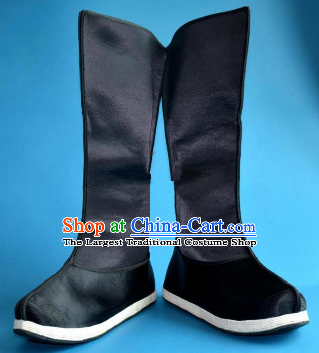 Chinese Traditional Beijing Opera Takefu Shoes Ancient Qing Dynasty Minister Black Satin Boots for Men