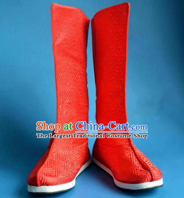 Chinese Traditional Beijing Opera Takefu Shoes Ancient Qing Dynasty Emperor Red Satin Boots for Men