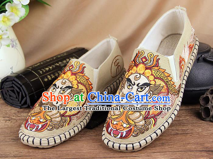 Chinese National Shoes Traditional Beige Cloth Shoes Embroidery Facial Makeup Shoes for Men