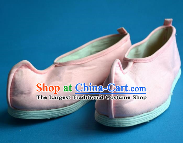 Chinese Ancient Handmade Cloth Shoes Traditional Han Dynasty Princess Shoes Embroidered Pink Shoes for Women